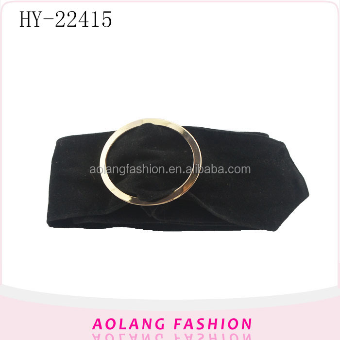 Fashion Plus Size Women black cotton ribbon Belt with removable buckle