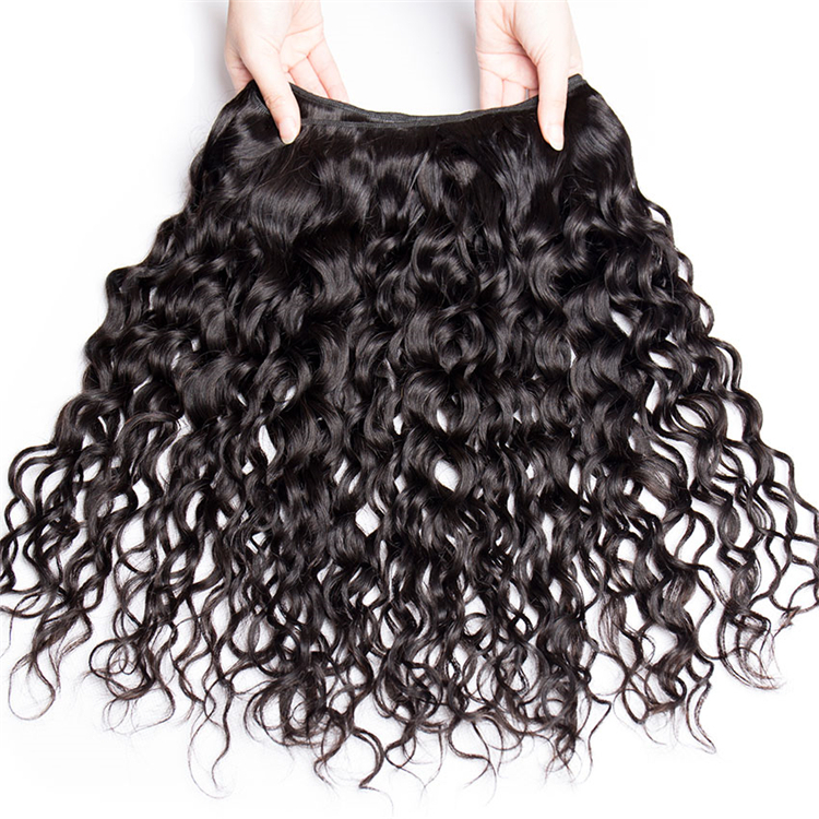 Wet And Wavy Brazilian Bundles With Closure, Human Virgin Deep Wave Bundles With Closure