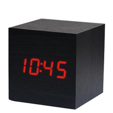Desktop Table Clocks Despertador Digital LED Square Alarm Wood Wooden clock with temperature display
