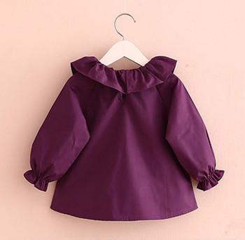 2d35b9633 Muchacha del niño camisetas 2018 primavera moda Color azul púrpura blanco niñas  blusas lindo manga larga