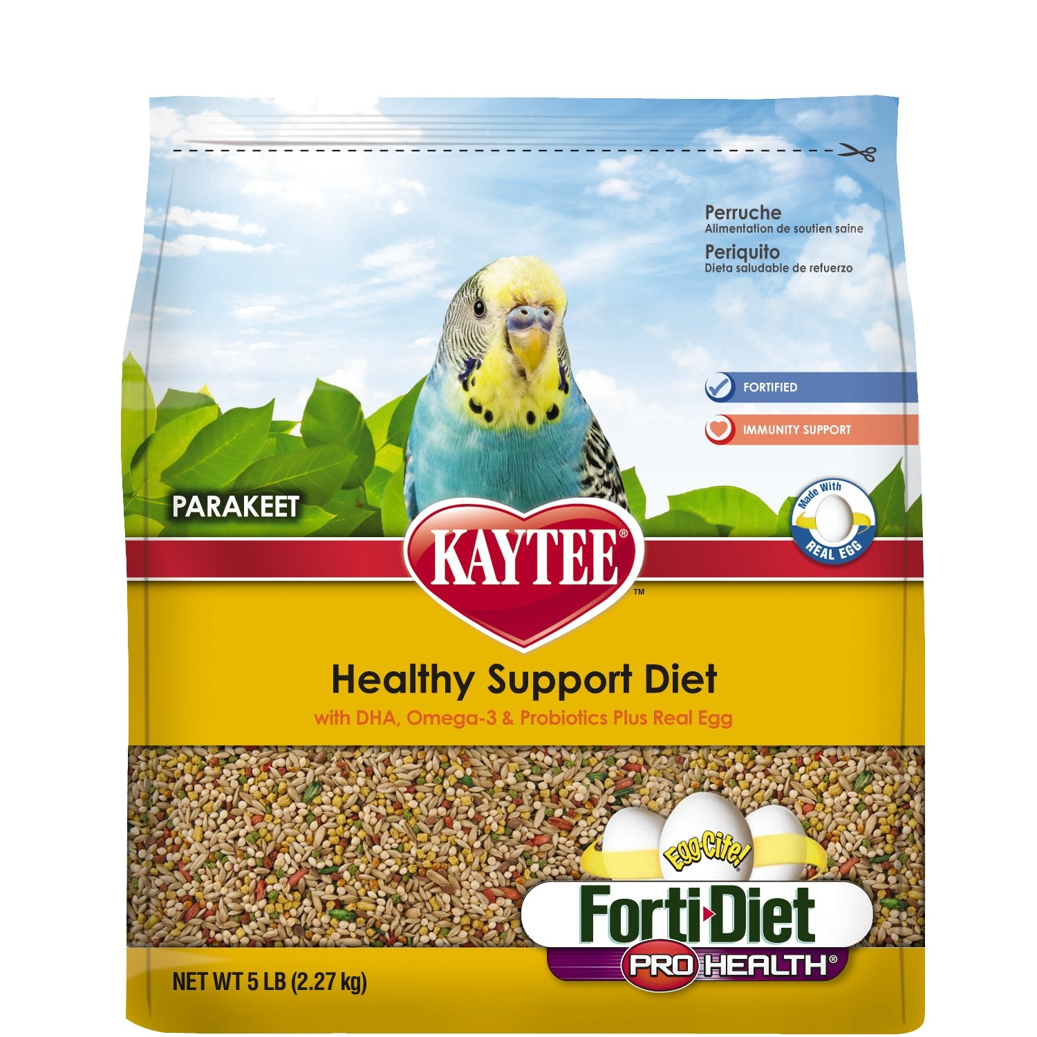 Kaytee Forti Diet Egg-Cite Bird Food for Parakeets, 5-Pound Bag