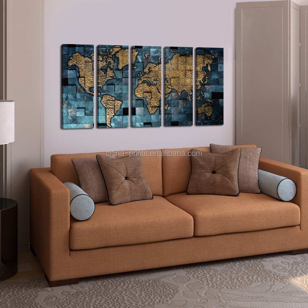 New World Map Canvas Print 5 Panel Home Decor Wall Art Metal Color Canvas Art For Wholesale