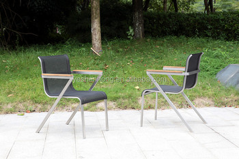 Batyline Patio Outdoor Furniture With Steel Frame And Teak Wood On Top