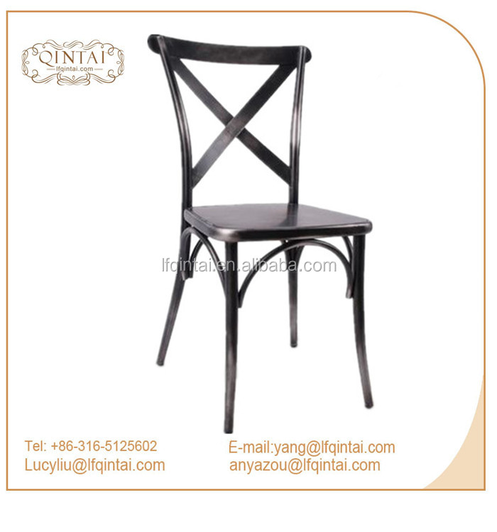 Commercial vintage industrial cross back metal dining Chair for restaurant