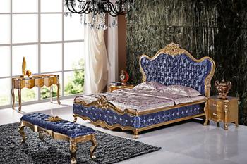 2015 New Royal Wood Frame Hand Carving Blue Velvet King
