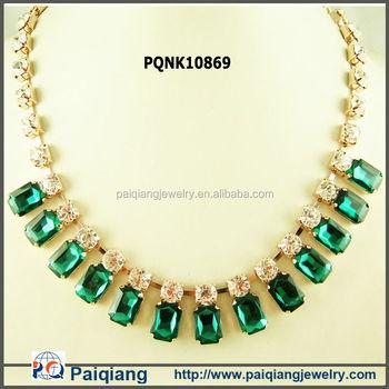 Charm Jewelry Emerald Stone Designs Rhinestone Necklace Buy