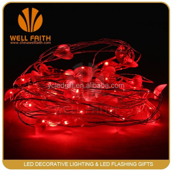 Birthday greetings 12 V Red heart shape LED copper wire string lights