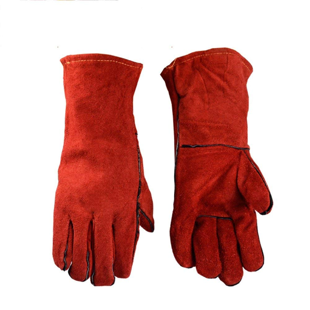 Welding gloves Industrial Welding Insulation Wear-resistant Leather Heat-resistant Gloves Red Full Length 13.78inch,Red-XL