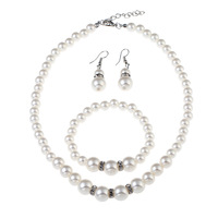 hot sale simple Wedding White Freshwater natural Pearl necklace jewelry sets for Women