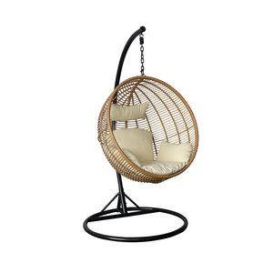 Brown teardrop-shaped Balance basket shaped indoor reclining swing chairs with stand for patio