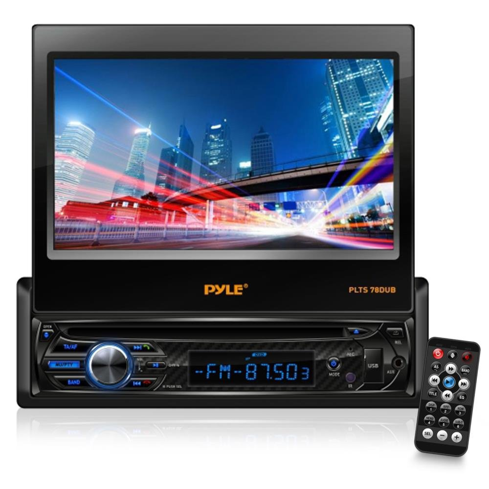 """Single DIN Head Unit Receiver - In-Dash Car Stereo with 7"""" Multi-Color Touchscreen Display - Audio Video System with Bluetooth for Wireless Music Streaming & Hands-free Calling - Pyle PLTS78DUB"""