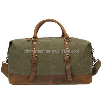 3069d3913221 Large Designer Canvas Leather Travel Duffle Bag Weekend Casual Sports Gym  Bags Tote Shoulder Bag For Men Women Khaki - Buy Waxed Canvas Travel ...