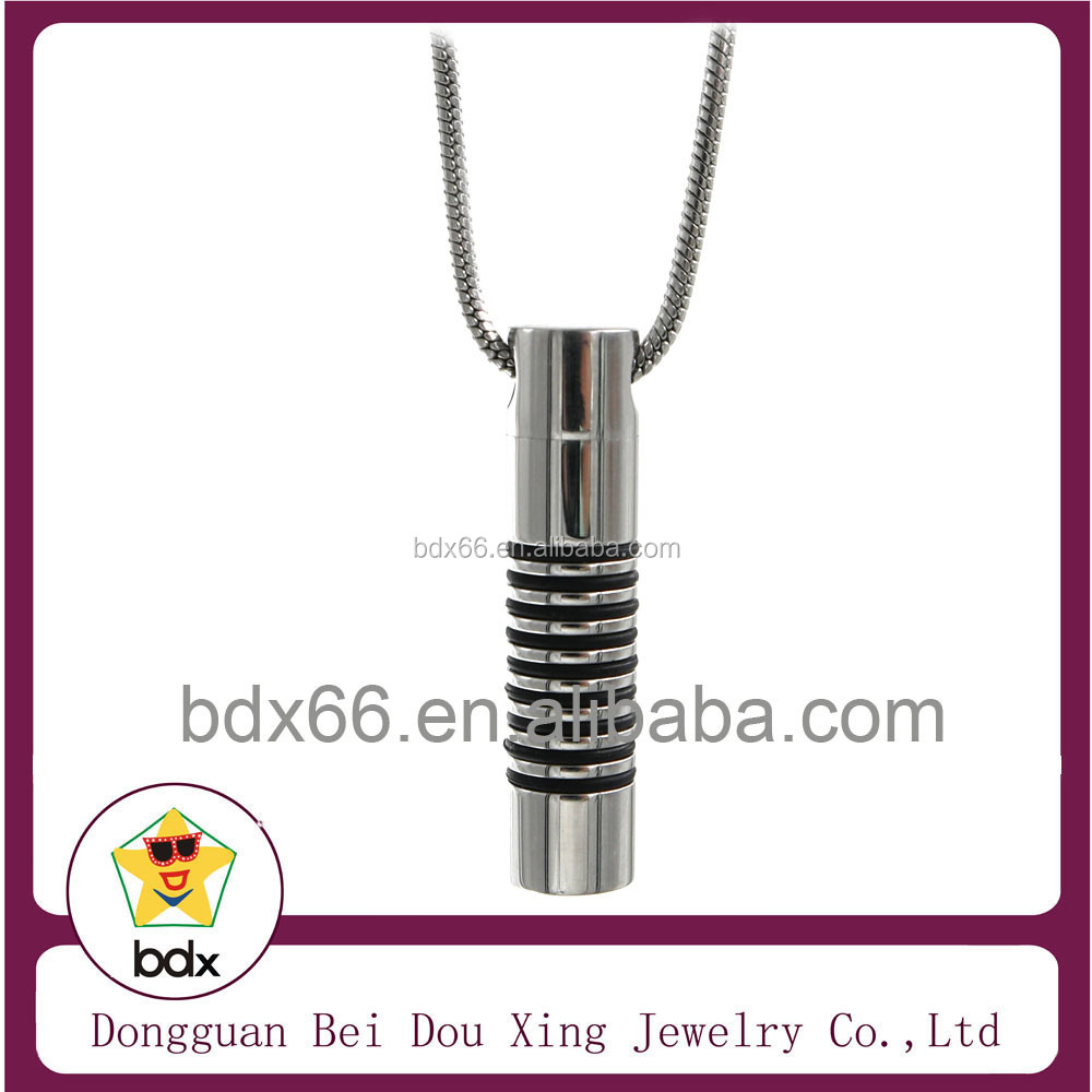 China Alibaba Wholesale Stainless Steel Cremation Jewelry Silver Cylinder Pendant With Black Banded Cylinder Ash Urn Pendant