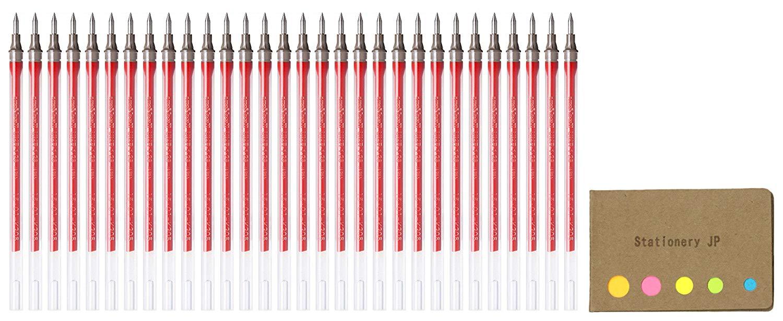 Uni-ball UMR-1-28 Refills for Signo Gel Ink Ballpoint Pen, UM-151 DX, 0.28mm, Red Ink, 30-pack, Sticky Notes Value Set