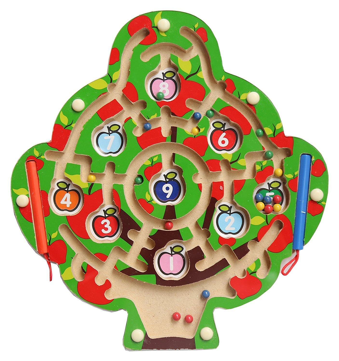 YBB Magnetic Wooden Maze Puzzle Apple Tree Shape Magnetic Maze Magnetic Number Maze