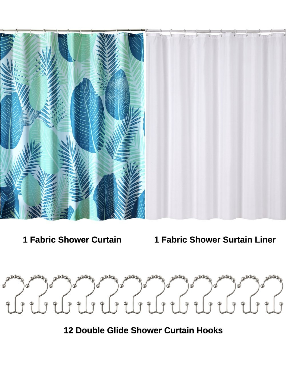 Kingmily Shower Curtain Set - Fabric Shower Curtain (Green Fan Leaves) and Shower Curtain Liner (White Fabric) and 12 Shower Curtain Hooks (72-by-78 inches, set 3 include Metal Double Glide hooks)