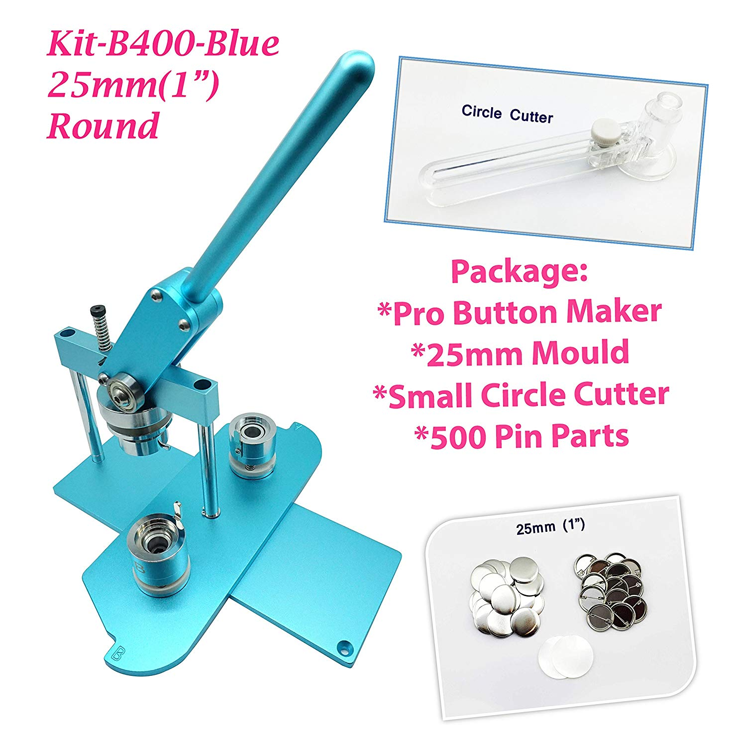 "ChiButtons (KIT) 25mm(1"") Pro Badge Machine Button Maker B400 + Mould + 500 Parts + Circle Cutter Metric System(Blue)"