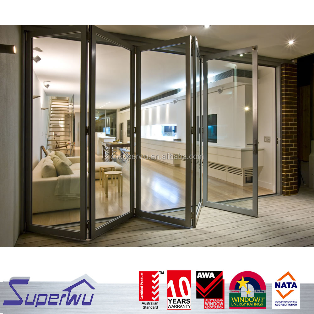 Energy saving low-e glass powder coating aluminium folding door comply with CSA NFRC AS2047 standard