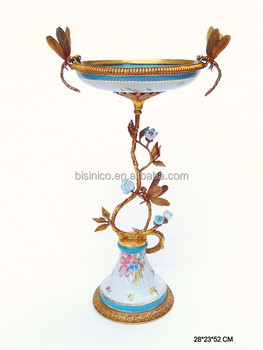 Unique Dragonfly Design Porcelain With Bronze Fruit Bowl, Floral ...