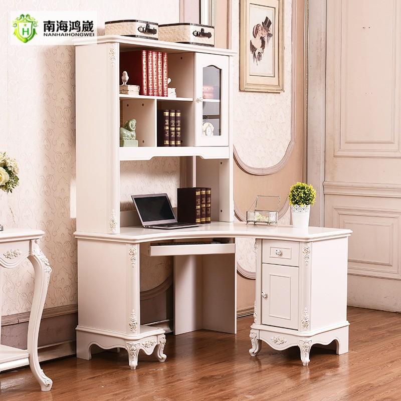 witte antieke franse provinciale computer bureau boekenkast combinatie met studie tafel