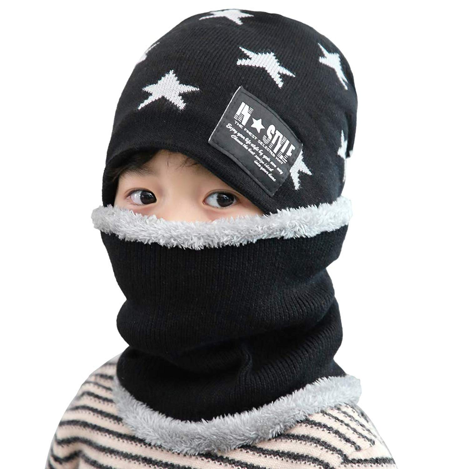 a8a69edd8a4 Get Quotations · VBG VBIGER 2 Pieces Kids Winter Knit Hat and Scarf Warm  Thick Beanie Cap and Scarf