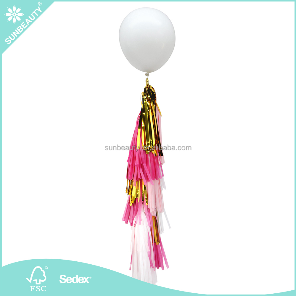 "Wholesale 36"" Giant White Latex Balloon with Tissue Paper Tassel Garlands Sunbeauty Bridalshowers Engagement"