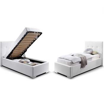 eba44e8b1887 Single Twin Size Gas Lift Storage Ottoman White Pu Leather Bed Frame ...