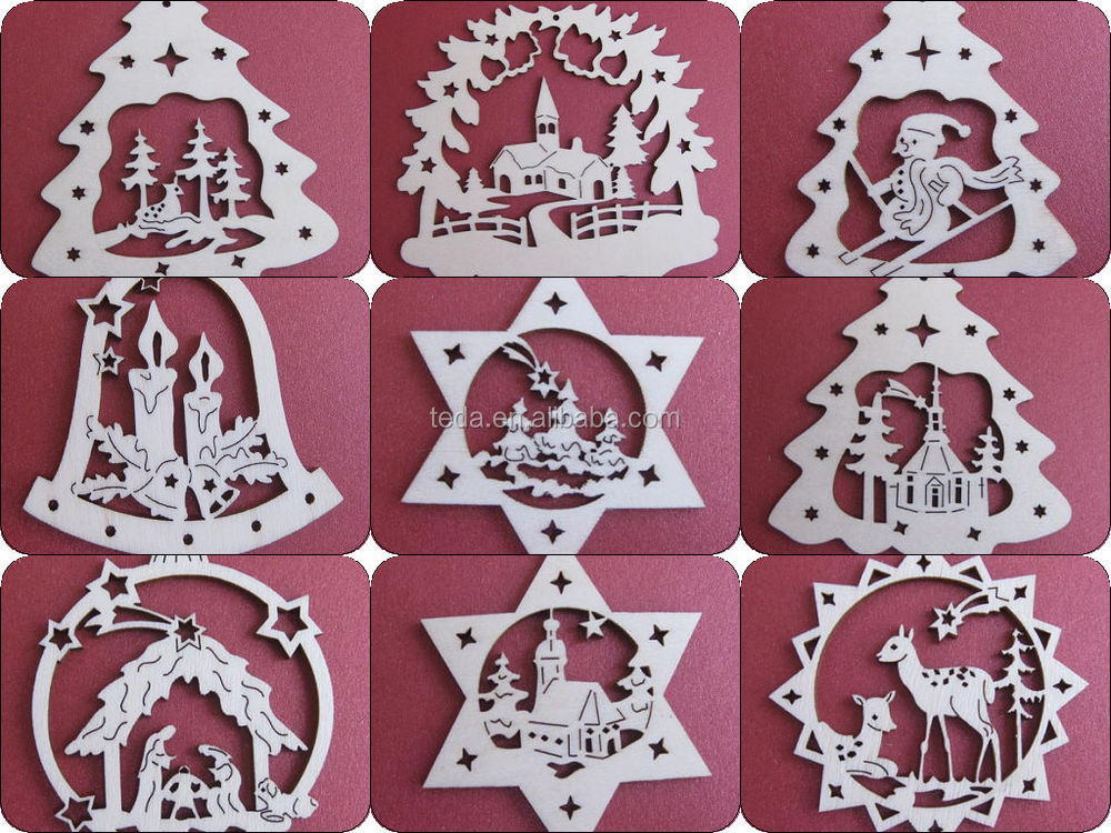 2015teda laser cut wood christmas ornament patterns buy for Wooden christmas cutouts