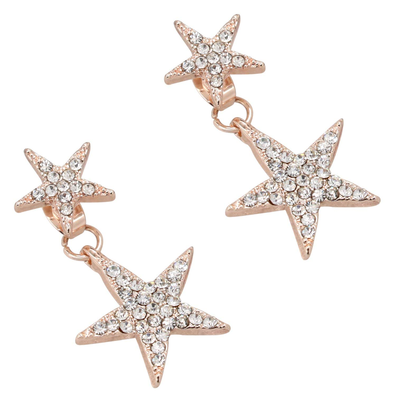 Rayker Sparkling Star Earring Stud, Shiny Bling Pentagram Star Design with Dazzling Rhinestone Inlaid , Stylish Brilliant Five-point Star Ear Ring Ear Stud, Pentagram 1 Pair (Gold)