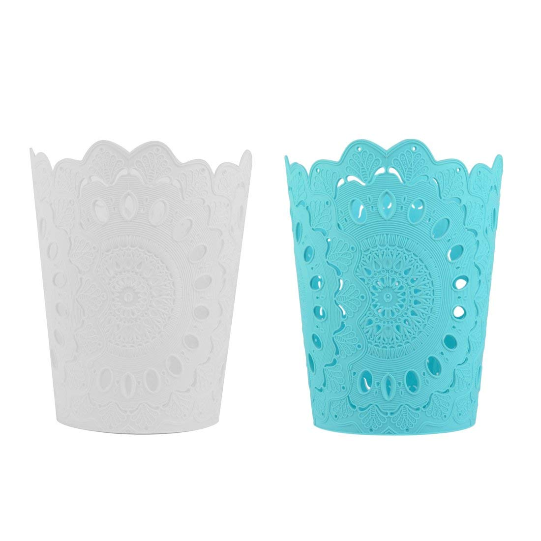 XSHION Waste Paper Basket, 2 Pack Plastic Garbage Can Small Bathroom Wastebasket Without Lid Hollow Flower Trash Can 7.8 X 5.7 X 9.4 Inch
