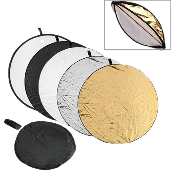 "43"" 110 cm Round Photography Reflector 5 in 1 Collapsible Multi-Disc Light Reflector Translucent Silver Gold White and Black 5"