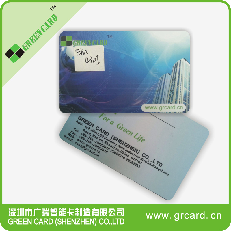 High Quality 125 KHZ EM4305 Erasable ID Card, Standard Credit Card Size, White PVC Can onto Printing Faces