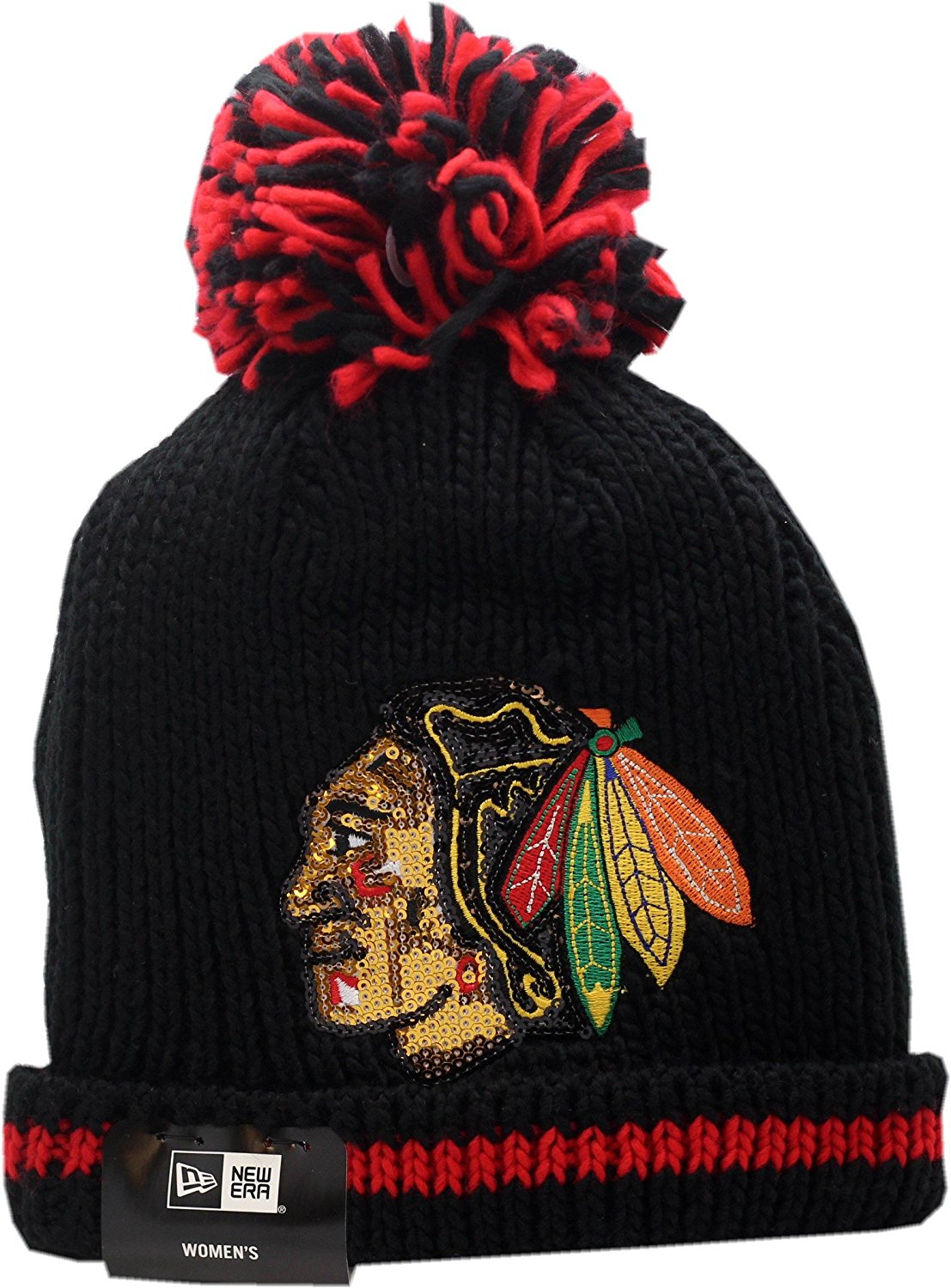 133f59bf782 Get Quotations · Chicago Blackhawks New Era Women s Sequin Frost Logo Block Knit  Hat With Pom