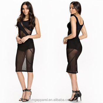 e274895ef61 women round neck dress pattern slim sexy girl midi dress black mesh dress  with inner trousers