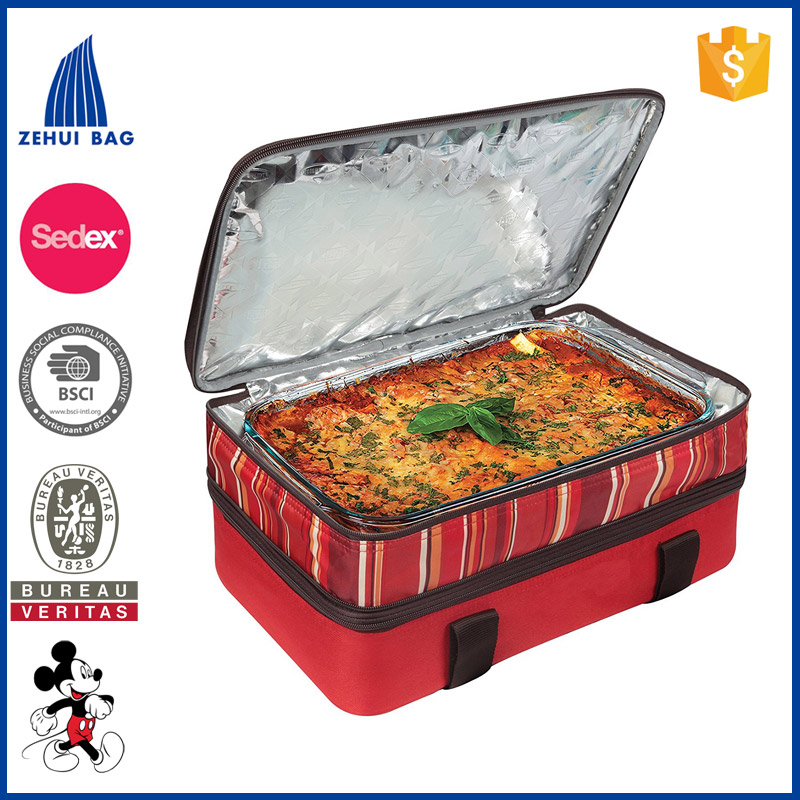 Expandable Food Delivery Bag With Color of Red Orange Green