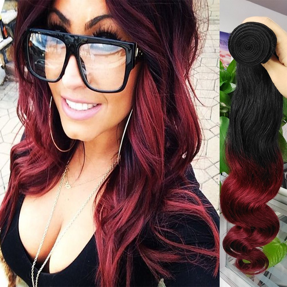 Brazilian Body Wave Hair Weave 3 Bundles Ombre Burgundy Human Hair Two Tone 1b 99j Black Burgundy Red Ombre Human Hair Extensions Mixed Length 10 12 14 Inches