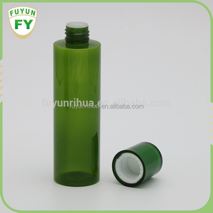 200ml green color cylinder shaped plastic bottle with lotion pump