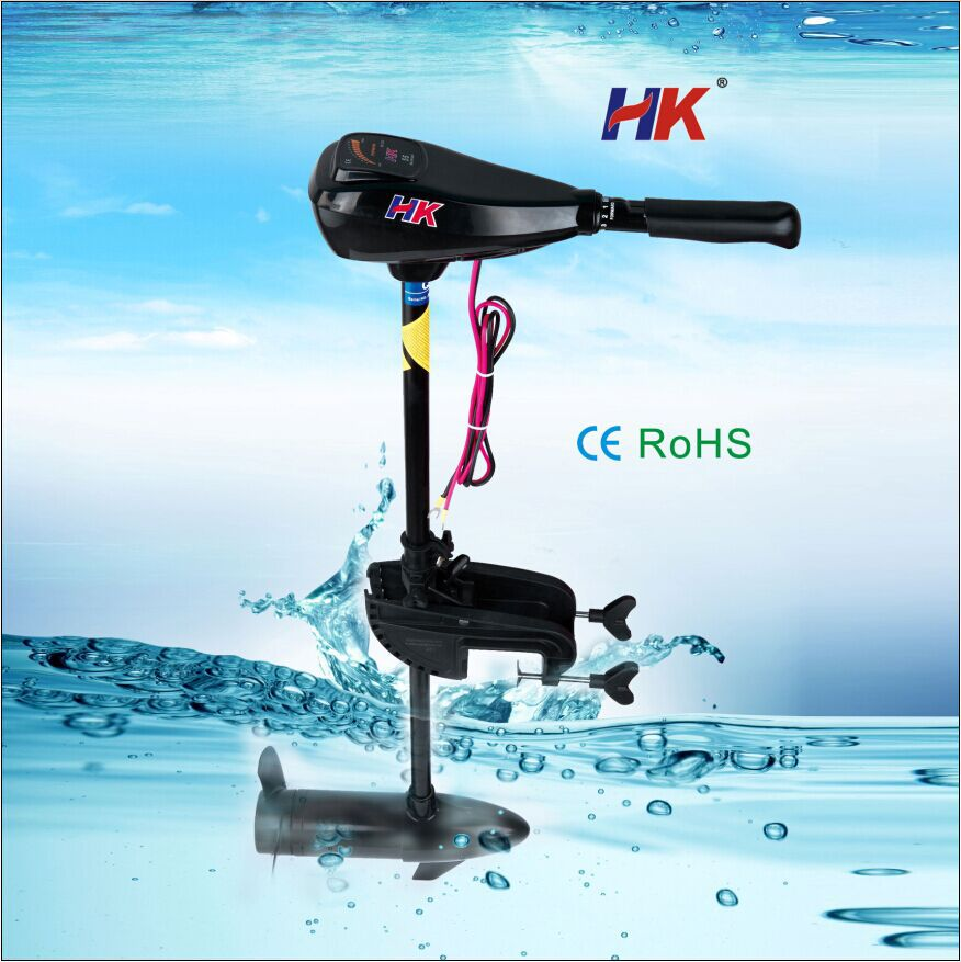 Noiseless outboard marine engine for fishing