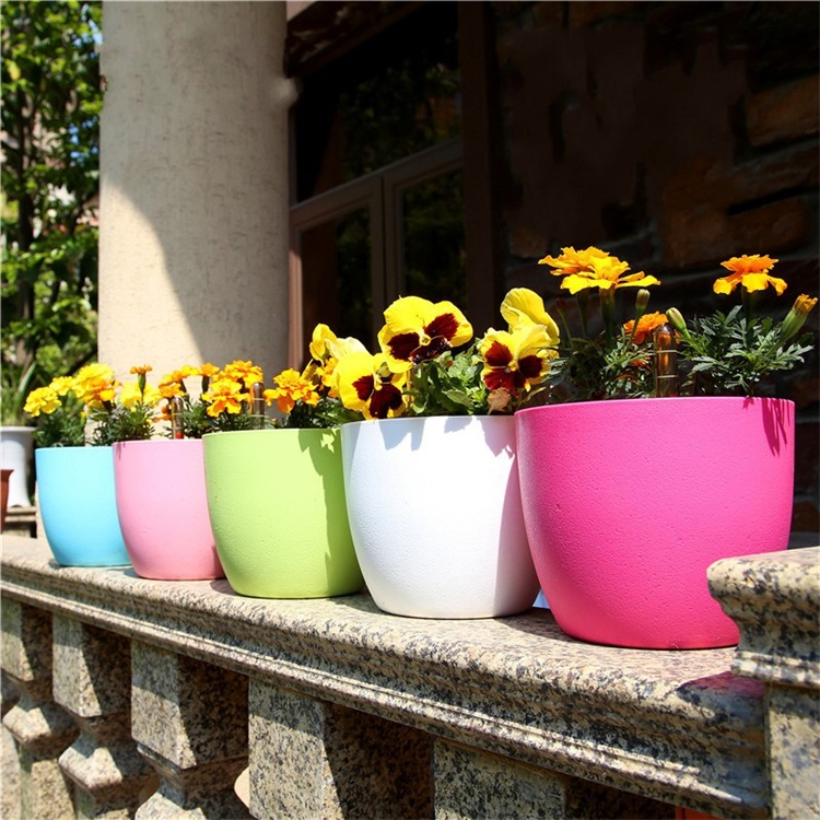 Candy Color Automatic Watering Ventilation Circular Thickening Plastic Plant Pot