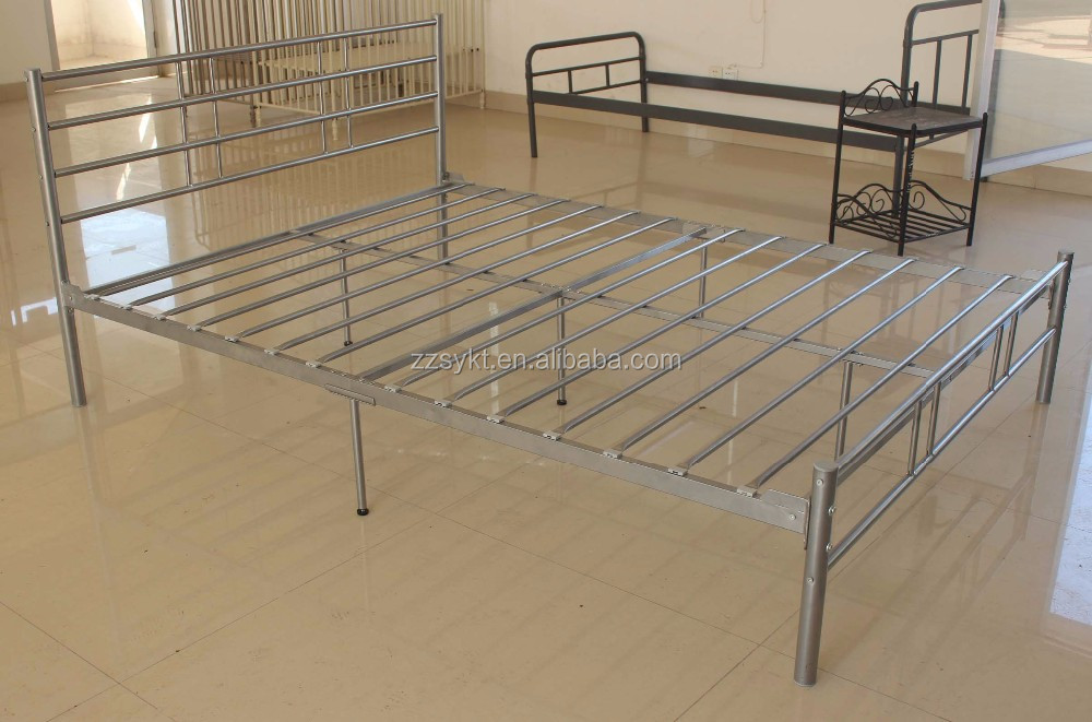Boys kids adults bedroom metal platform bed frames with two headboards supplier
