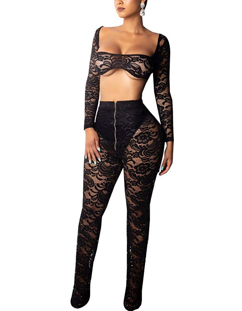59271e18baf282 Get Quotations · Women's Sexy See Through Off Shoulder Lace Crochet 2 Piece  Outfit Long Sleeve Bra Crop Top
