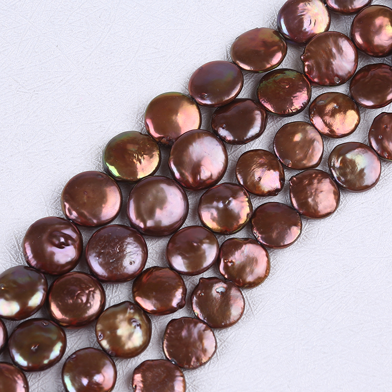 12-13mm colorful coin freshwater pearls for jewelry making