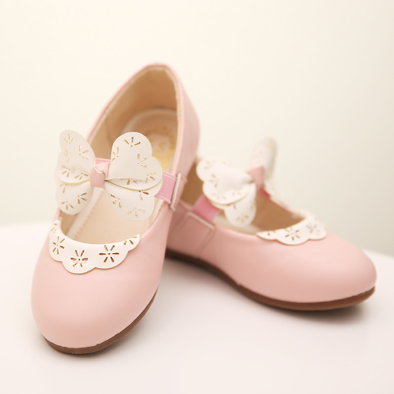 New 2015 Baby Girls Shoes Princess Flat Casual White Flower Girl Shoes Wedding Children Girl Shoes Flats Bowtie Children Shoes