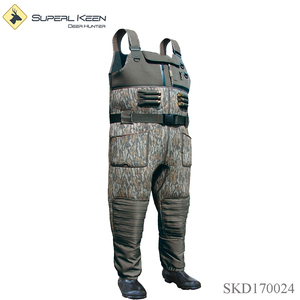 Outdoor Hunting Camo Breathable Chest Wader waterproof wader with big pockets on knees