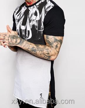 7ad60b479e42b Al por mayor nuevo estilo cremallera lateral Camisetas largas de la moda  line camiseta hombres moda