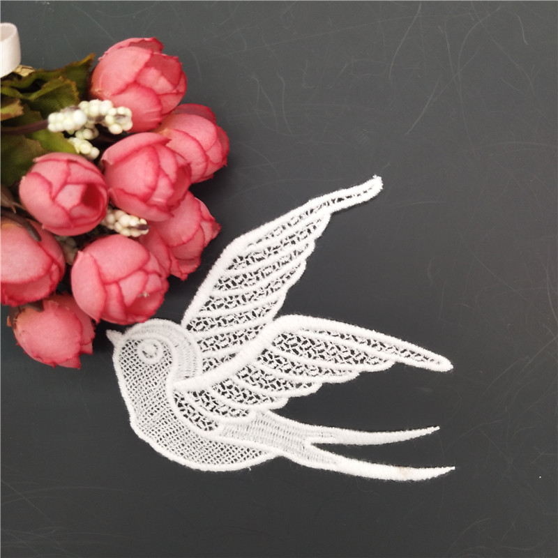 Bird Design Embroidery Patch Lace Applique For Clothes