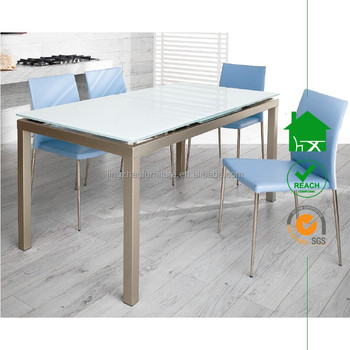 dt 2074 elegance contemporary white tempered glass extending dining table with chromed legs - White Glass Extending Dining Table
