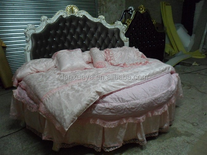 Alibaba Wooden Carved Round Bed , Antique Bedroom King Size Round Bed On  Sale