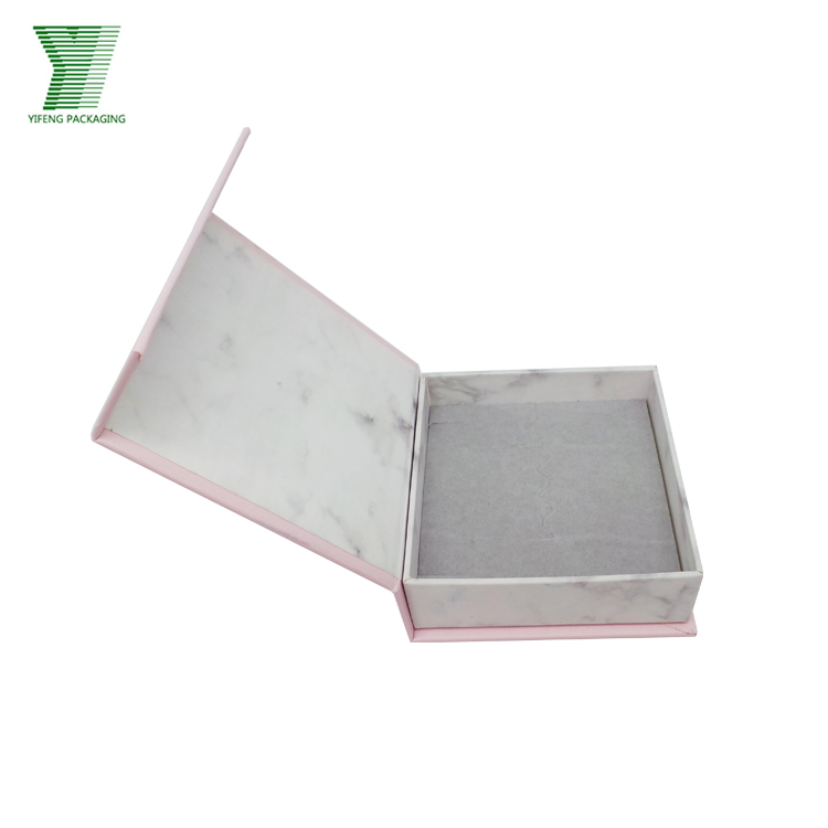 Yifeng exclusive luxury small square cardboard jewelry box packaging with marble grain