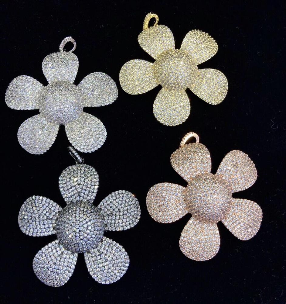 CZ-PM0175 high quality zirconia <strong>pendant</strong>, micro pave big flower white zircon <strong>pendant</strong> for jewelry necklace making
